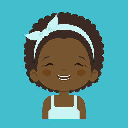laugh out loud: African little girl laughing facial expression, cartoon vector illustrations isolated on blue background. Pretty little girl emoji laughing out load with closed eyes and open mouth.
