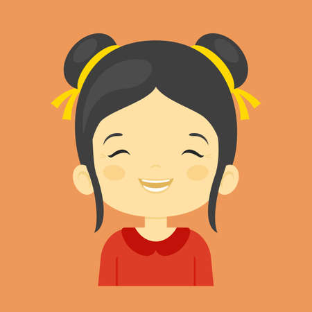 laugh out loud: Asian little girl laughing facial expression, cartoon vector illustrations isolated on orange background. Pretty little girl emoji laughing out load with closed eyes and open mouth. Illustration