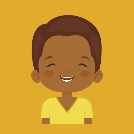 laugh out loud: Dark skin little boy laughing facial expression, cartoon vector illustrations isolated on orange background. Handsome little boy emoji laughing out load with closed eyes and open mouth.