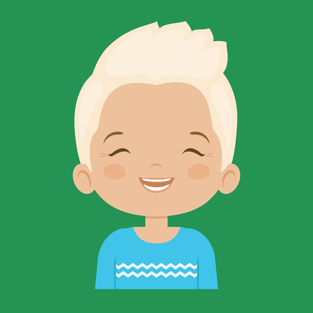 laugh out loud: Blond little boy laughing facial expression, cartoon vector illustrations isolated on green background. Handsome little boy emoji laughing out load with closed eyes and open mouth. Illustration