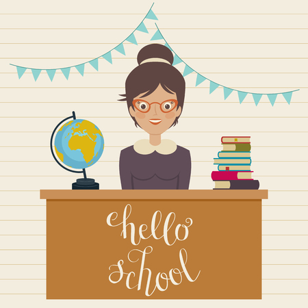 Hello school inspirational quote. Vector hand lettering. Teacher sits at the table with pile of books and globe vector illustration