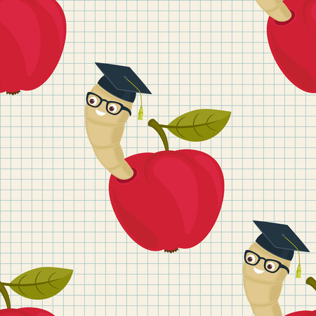 Cartoon worm in alumni hat and glasses peeking from a read apple seamless wallpaper. Vector pattern. Educational concept