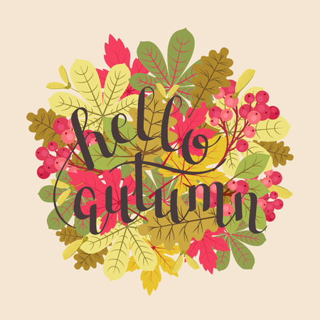 Hello autumn/fall inspirational quote. Vector hand lettering. Autumn/fall colorful leaves arrangement vector illustration