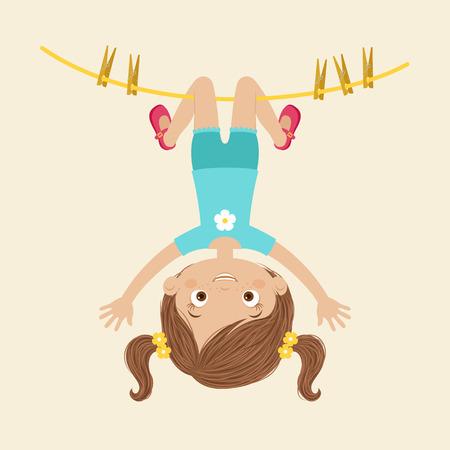 Glückliches kleines Mädchen, das unten von der Wäscheleine hängt. Kindheit Konzept. Vektor-Illustration Standard-Bild - 82396768