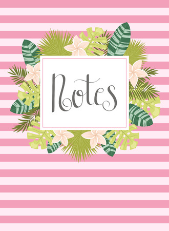 Notebook cover template with hand lettering Notes and tropical leaves. Illustration