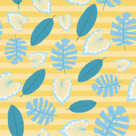 Seamless pattern with tropical leaves. Vector endless wallpaper