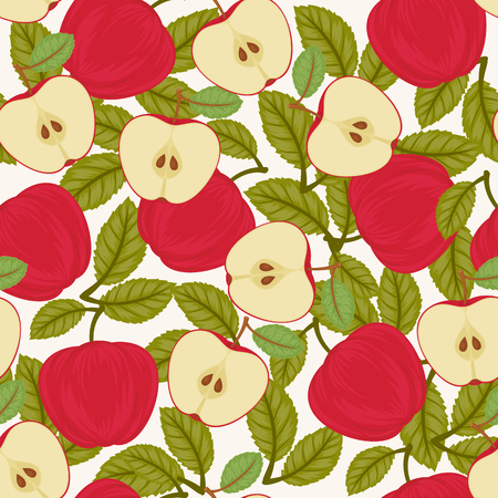 Seamless apple pattern. Endless vector garden wallpaper