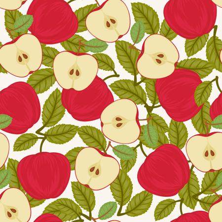 Seamless apple pattern. Endless vector garden wallpaper
