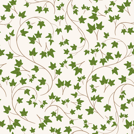 Seamless ivy pattern. Endless vector garden wallpaper