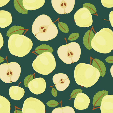 Seamless green apple pattern. Endless vector garden wallpaper Illustration