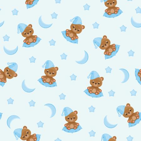 Sleepy teddy bear in night hat sitting on a pillow; moon and stars around. Ilustração