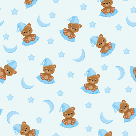 cushions: Sleepy teddy bear in night hat sitting on a pillow; moon and stars around. Illustration