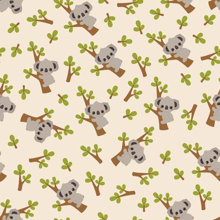 Cute cartoon koala on a tree pattern/wallpaper