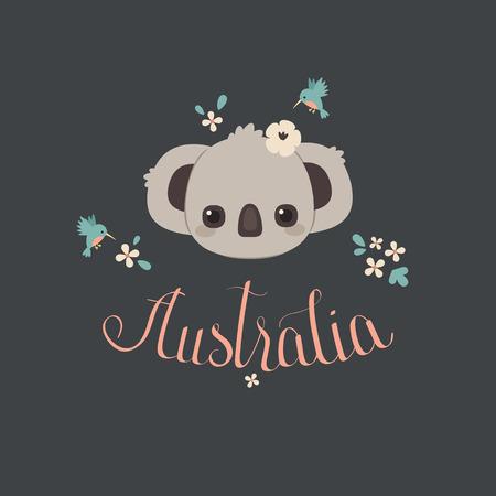 Cute baby koala with hummingbird and flowers. Hand lettering Australia. Vector cartoon illustration