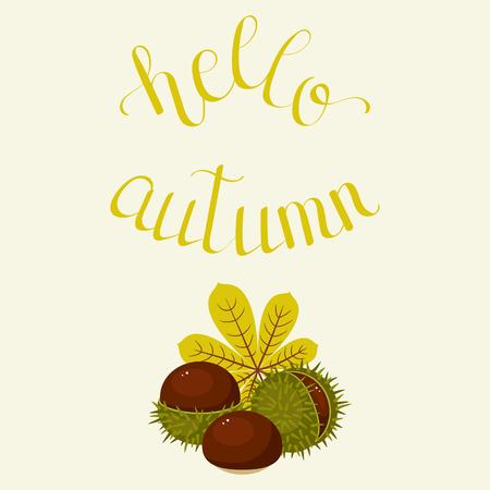 「こんにちは秋」レタリングの手。手書きの見積もり。ポスター、グリーティング カード、ウォール アートや壁紙テンプレートです。ベクター ア