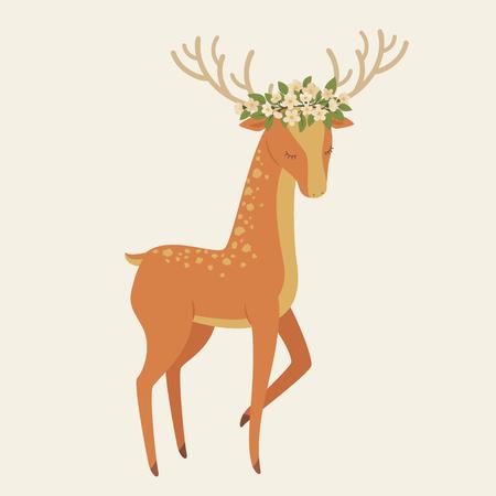 Deer in floral wreath. Vector illustration