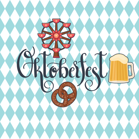 Hand lettering Oktoberfest, ferris wheel, beer and pretzel icons on Bavarian flag background. Vector art.