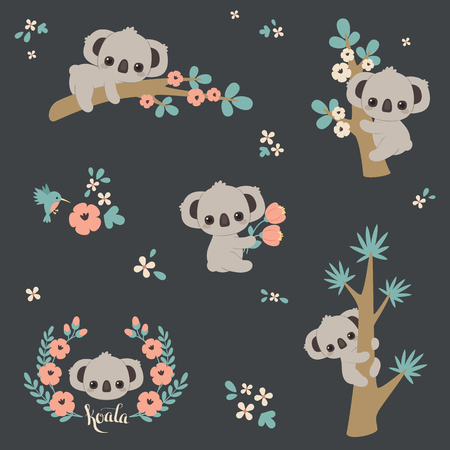 Cute koala in different poses: climbing on a tree, laying on a branch, holding flowers, etc.