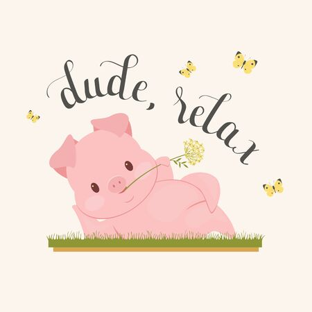 Cute pig with dude relax icon.