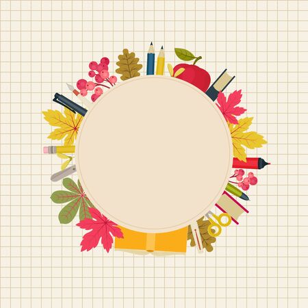 Educational concept. Blank background with school supplies and autumnfall leaves and berries. Vector illustration