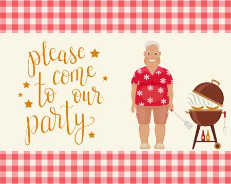 Happy smiling elder man doing barbecue. Handwritten lettering please come to our party. Invitation template. Vector art.