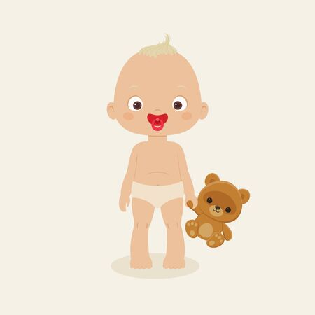 baby playing toy: Baby boy staying with his teddy bear toy. Vector illustration