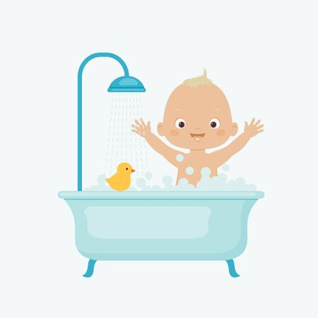 baby playing toy: Happy baby taking bath. Vector illustration