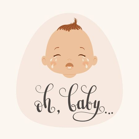 Crying baby with handwritten lettering oh, baby. Vector illustration 向量圖像