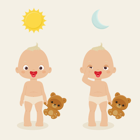 baby playing toy: Active and sleepy baby with teddy bear toy. Vector illustration