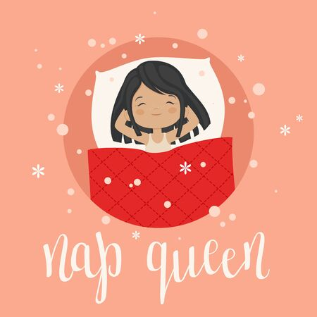Sleeping girl with hand lettering nap queen vector art. Illustration