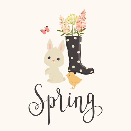 Hand letteringcalligraphy Spring, white bunnyrabbit, chick, rain boot with flowers.