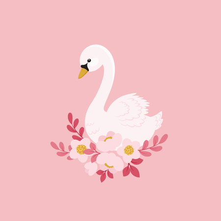 White swan and beautiful flowers. Fairy tale concept. Vector illustration. Stock Illustratie