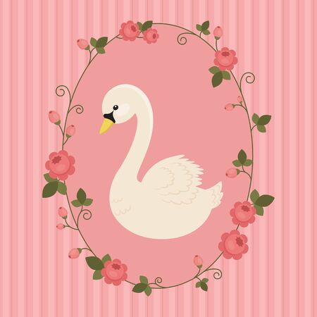 White swan in floral frame on pink background. Vector illustration.