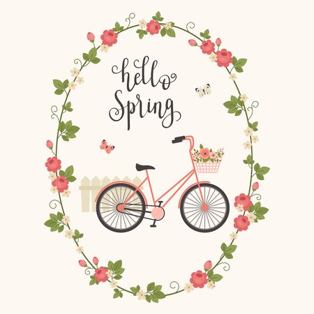 Spring concept vector illustration. Bicyclebike with floral basket, butterflies and fence in floral frame. Hand lettering hello Spring Illustration