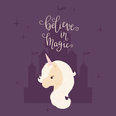 Head of a unicorn on a castle silhouette background. Hand lettering