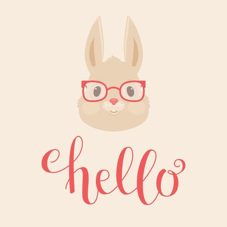 Head of the rabbit or bunny in glasses. Hand lettering hello. Vector illustration.