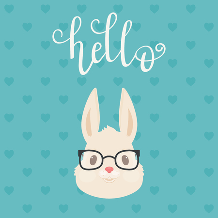 Head of the rabbitbunny in glasses. Hand lettering hello. Vector illustration