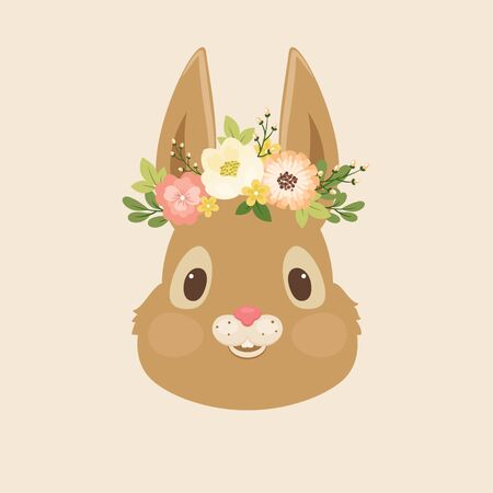 Head of the rabbitbunny in a floral wreath. Vector Spring illustration