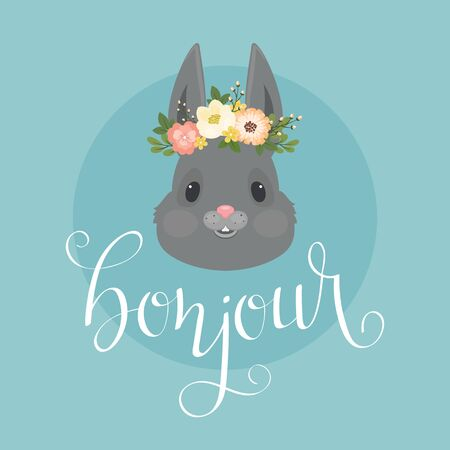 Head of the rabbitbunny in a floral wreath.  Hand lettering bonjour in French. Vector Spring illustration