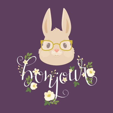 Head of the rabbitbunny in glasses.  Floral hand lettering