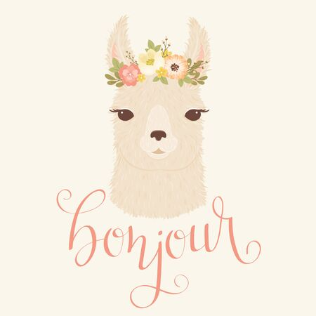 Llama in a floral wreath vector illustration. Hand lettering