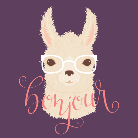 Llama in glasses vector illustration. Hand lettering bonjour in French