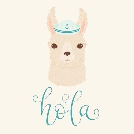 Llama in a sailor's hat vector illustration. Hand lettering
