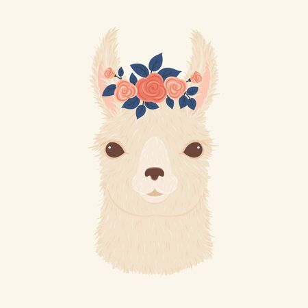 Llama in a floral wreath vector illustration.