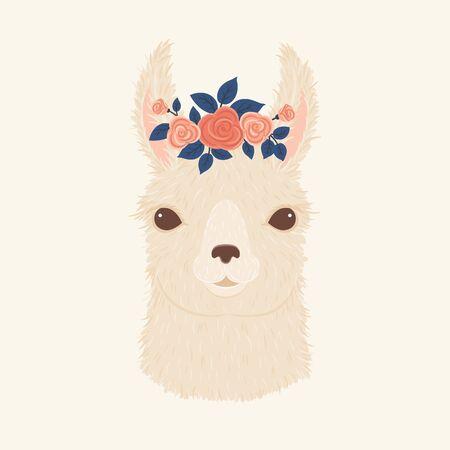 Llama in a floral wreath vector illustration.