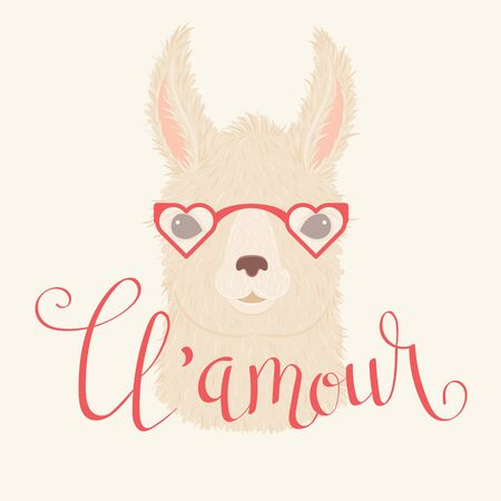 Llama in heart shaped glasses vector illustration. Hand lettering llamour in French Illustration