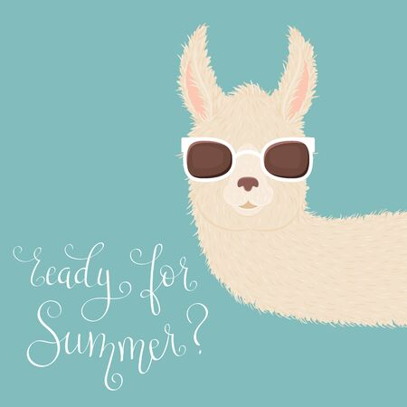 Peering llama in sunglasses and hand lettering