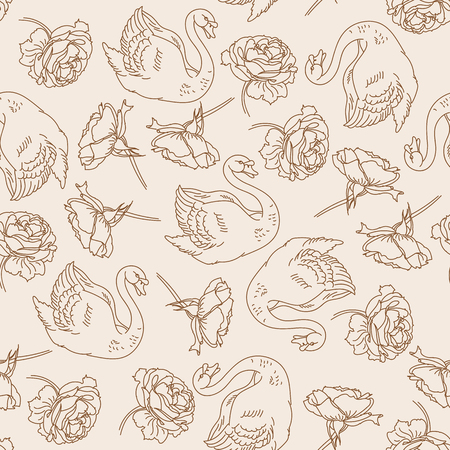 Vector seamless pattern with hand drawn swans and peonies.