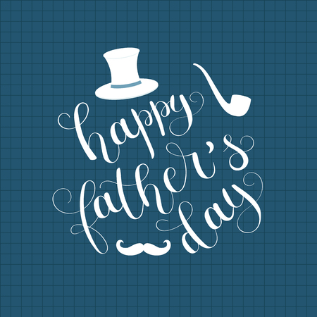 Happy Fathers Day hand letteringcalligraphy. Vector art.