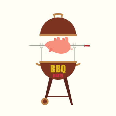 BBQbarbecue party blank invitation template with a  pig